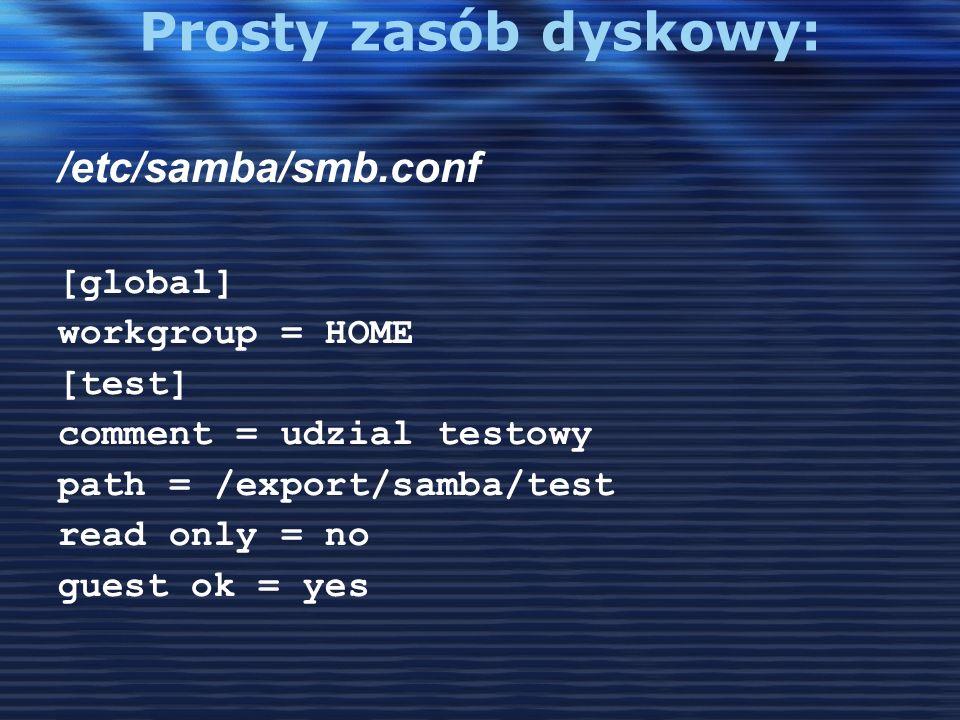 Prosty zasób dyskowy: /etc/samba/smb.conf [global] workgroup = HOME
